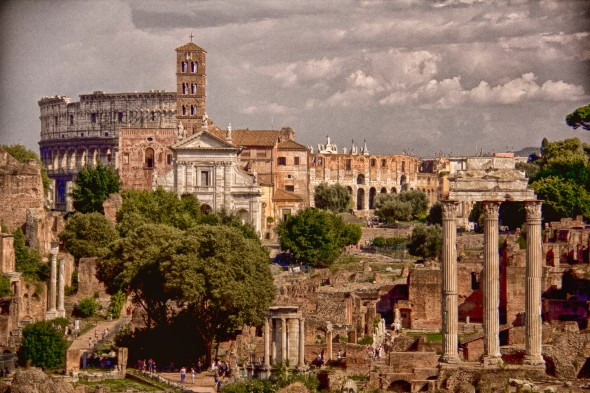 Forum and colisseum postcard