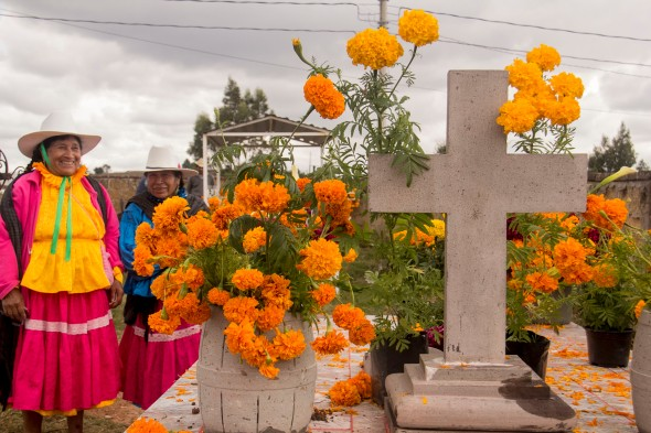 indigenous women andmarigolds