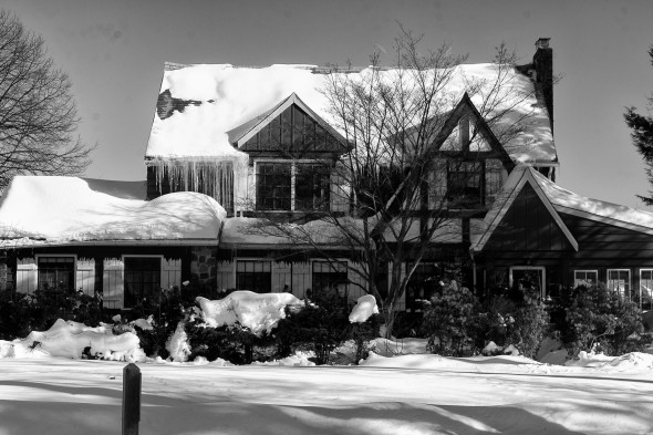 Brookdale Park in snow_tudor house