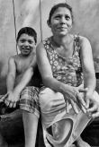 mother and son in the village of El Porvenir